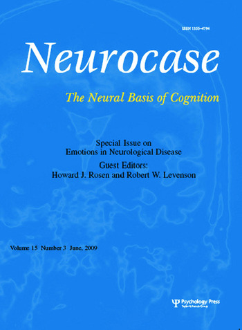 Emotions in Neurological Disease A Special Issue of Neurocase book cover