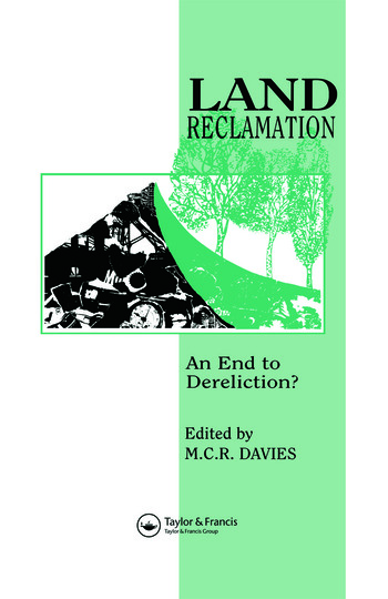 Land Reclamation An end to dereliction? book cover