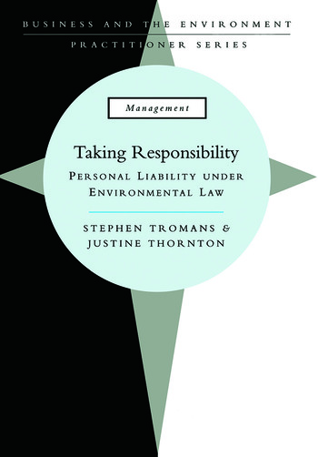 Taking Responsibility Personal Liability Under Environmental Law book cover