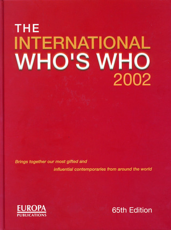 The International Who's Who 2002 book cover
