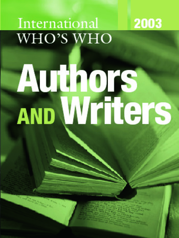 The International Who's Who of Authors and Writers 2003 book cover