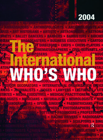 The International Who's Who 2004 Print and online versions book cover