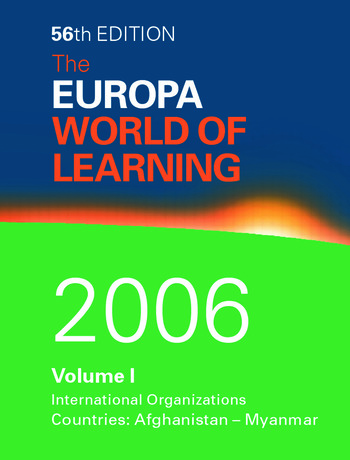 World of Learning 2006 Volume 1 book cover