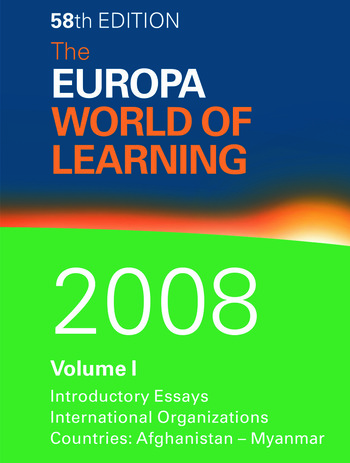 The Europa World of Learning 2008 book cover