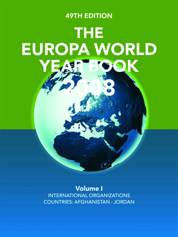 The Europa World Year Book 2008 Volume 1 book cover