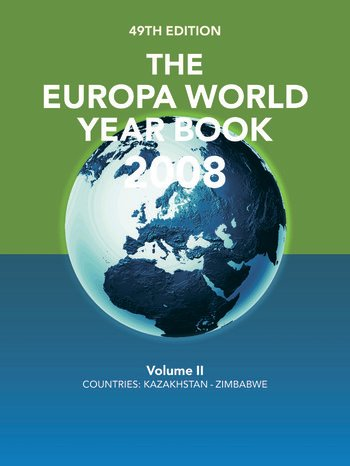 The Europa World Year Book 2008 Volume 2 book cover