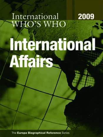 Who's Who in International Affairs 2009 book cover
