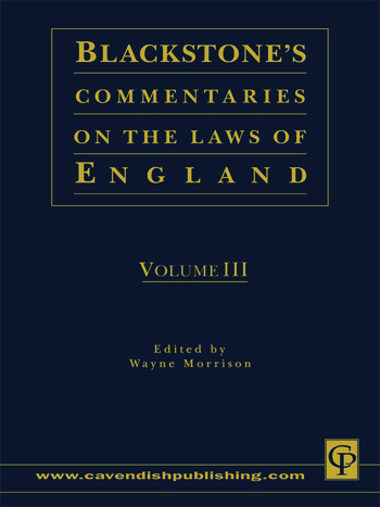 Blackstone's Commentaries on the Laws of England Volumes I-IV book cover