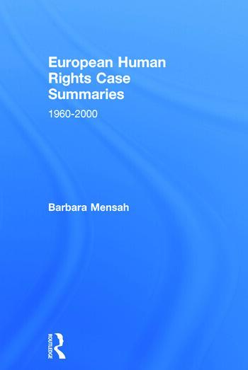 European Human Rights Case Summaries book cover