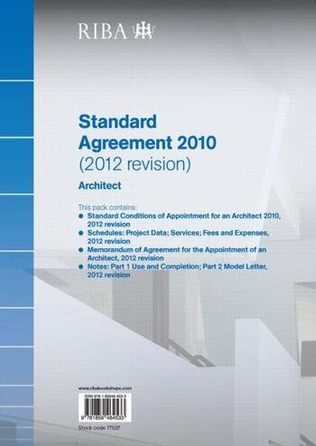 RIBA Standard Agreement 2010 (2012 Revision): Architect book cover