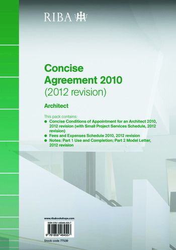 RIBA Concise Agreement 2010 (2012 Revision): Architect book cover