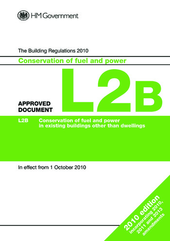 Approved Document L2B Conservation of fuel and power (existing buildings other than dwellings) book cover