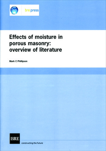 Effects of Moisture in Porous Masonry Overview of Literature (BR 304) book cover