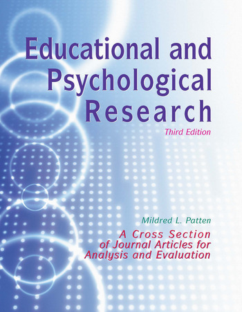 Educational and Psychological Research A Cross-Section of Journal Articles for Analysis and Evaluation book cover