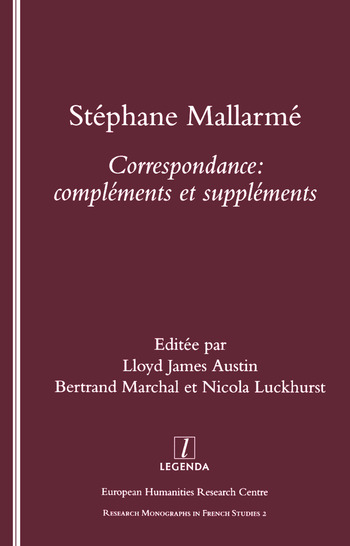 Stephane Mallarme Correspondence - Complements et Supplements book cover