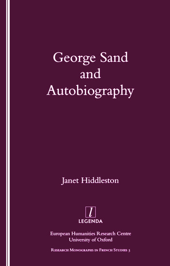 George Sand and Autobiography book cover