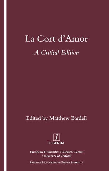 La Cort d'Amor A Critical Edition book cover