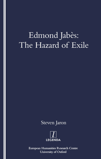 Edmond Jabes and the Hazard of Exile book cover