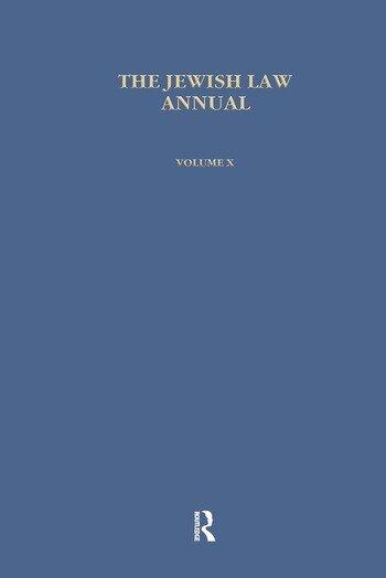 Jewish Law Annual (Vol 10) book cover
