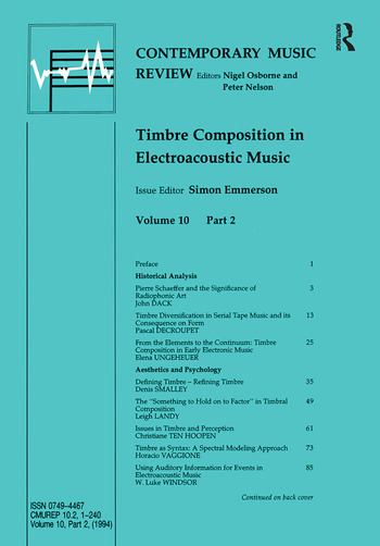 Timbre Composition in Electroacoustic Music book cover