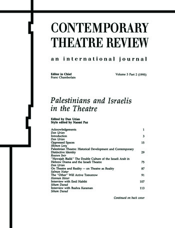 Palestinians and Israelis in the Theatre book cover