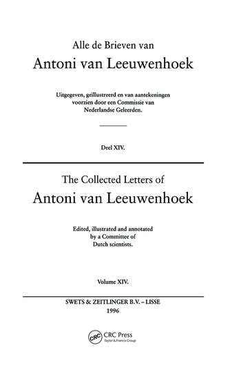 The Collected Letters of Antoni Van Leeuwenhoek - Volume 14 book cover