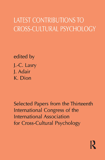 Latest Contributions to Cross-cultural Psychology book cover