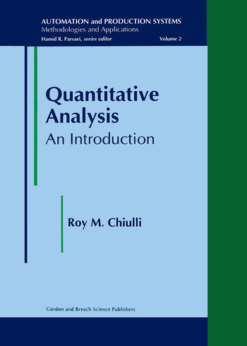 Quantitative Analysis An Introduction  Crc Press Book