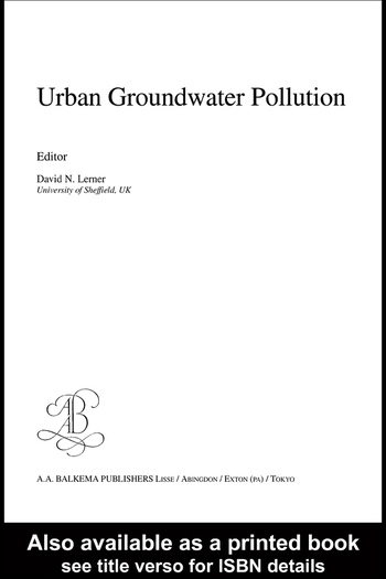 Urban Groundwater Pollution IAH International Contributions to Hydrogeology 24 book cover