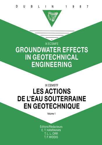 Groundwater effects in geotechnical engineering, volume 1 Proceedings of the 9th European conference on soil mechanics and foundation engineering, Dublin, 31 August - 03 September 1987 book cover