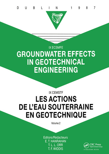 Groundwater effects in geotechnical engineering, volume 2 Proceedings of the 9th European conference on soil mechanics and foundation engineering, Dublin, 31 August - 03 September 1987 book cover