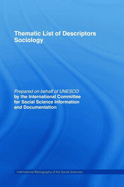 Thematic List of Descriptors - Sociology