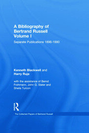 A Bibliography of Bertrand Russell: I. Separate Publications II. Serial Publications III. Indexes