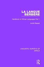 La Langue Berbère: Handbook of African Languages Part 1