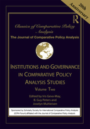 Institutions and Governance in Comparative Policy Analysis Studies: Volume Two