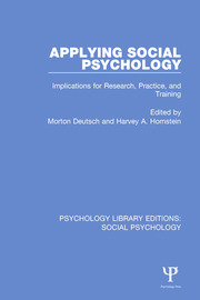 Applying Social Psychology: Implications for Research, Practice, and Training