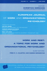 Work and Rest: A Topic for Work and Organizational Psychology: A Special Issue of the European Journal of Work and Organizational Psychology
