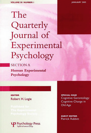 Cognitive Gerontology: Cognitive Change in Old Age: A Special Issue of the Quarterly Journal of Experimental Psychology, Section A