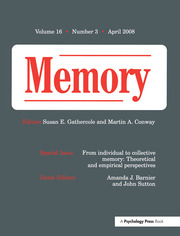 From Individual to Collective Memory: Theoretical and Empirical Perspectives: A Special Issue of Memory