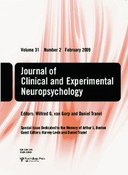Special Issue Dedicated to the Memory of Arthur L. Benton: A Special Issue of the Journal of Clinical and Experimental Neuropsychology
