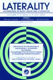 Behavioural and Morphological Asymmetries in Amphibians and Reptiles: Proceedings of the 4th World Congress of Herpetology Satellite Symposium: A Special Issue of Laterality
