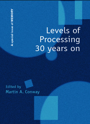Levels of Processing 30 Years On: A Special Issue of Memory