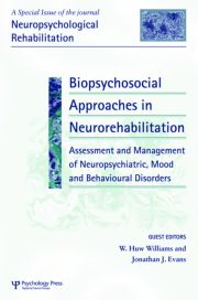Biopsychosocial Approaches in Neurorehabilitation: Assessment and Management of Neuropsychiatric, Mood and Behavioural Disorders: A Special Issue of Neuropsychological Rehabilitation