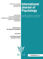 Indigenous Psychologies: A Special Issue of the International Journal of Psychology