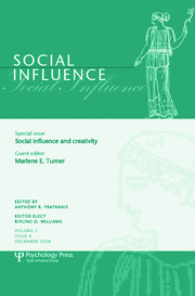 Social Influence and Creativity: A Special Issue of Social Influence