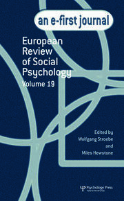 European Review of Social Psychology: Volume 19: A Special Issue of the European Review of Social Psychology