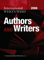 International Who's Who of Authors & Writers 2008